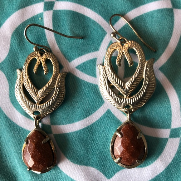 6715e11b5ce3c Kendra Scott Feather Brown Shimmer Stone Earrings